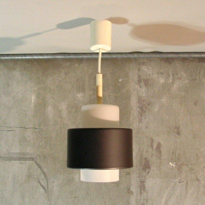 Deutsche Glas Deckenlampe mit Metallring von Staff, 1960er