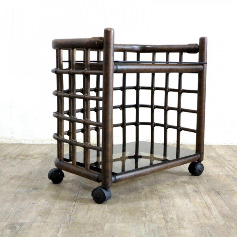 vintage bambus beistelltisch auf rollen 1970er bei pamono. Black Bedroom Furniture Sets. Home Design Ideas