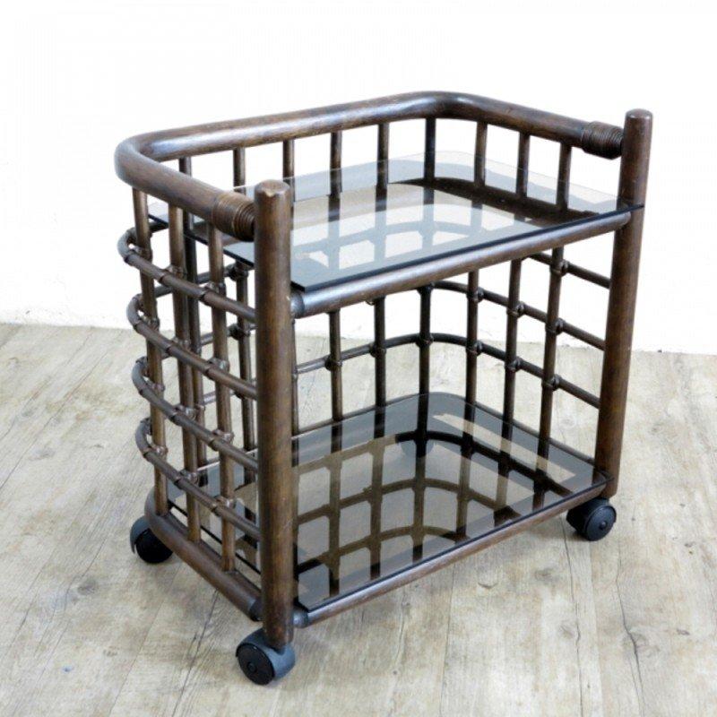 vintage bambus beistelltisch auf rollen 1970er bei pamono kaufen. Black Bedroom Furniture Sets. Home Design Ideas