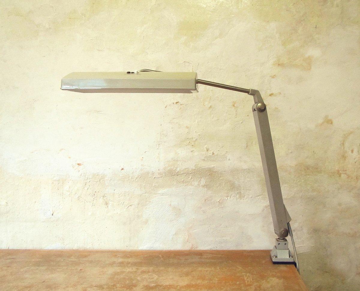 Graue Vintage Schreibtischlampe von Waldmann