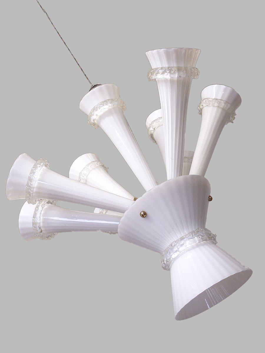 Trompeten Deckenlampe aus Handgeblasenem Glas, 1960er