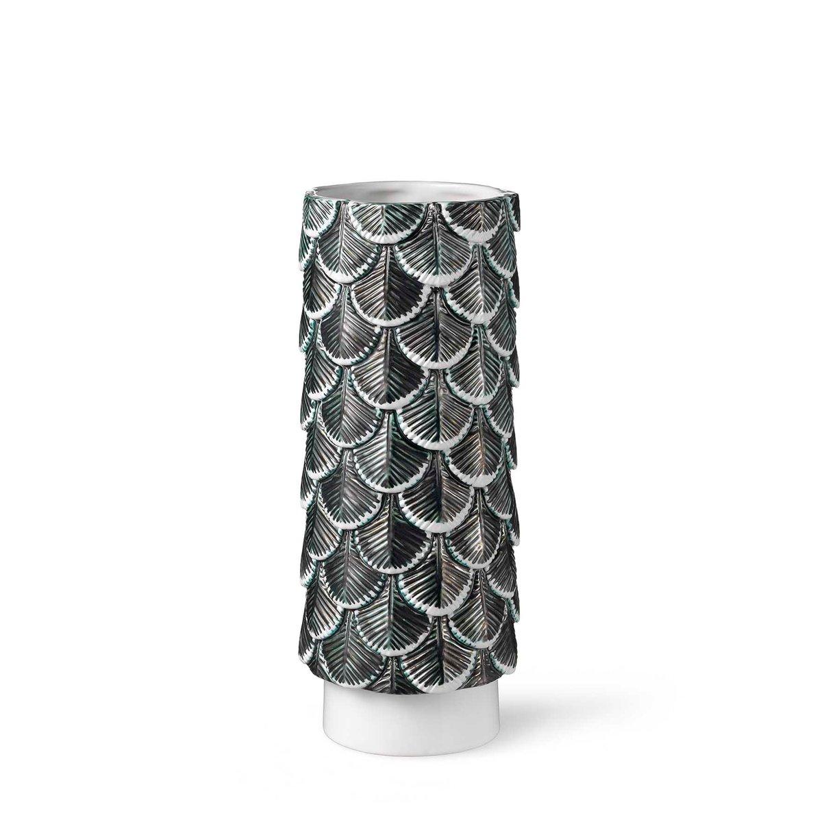hand dekorierte plumage vase in wei schwarz von cristina celestino f r botteganove bei pamono. Black Bedroom Furniture Sets. Home Design Ideas
