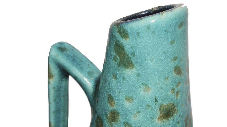 deutsche emaillierte vintage aquamarin vase 1970er bei pamono kaufen. Black Bedroom Furniture Sets. Home Design Ideas