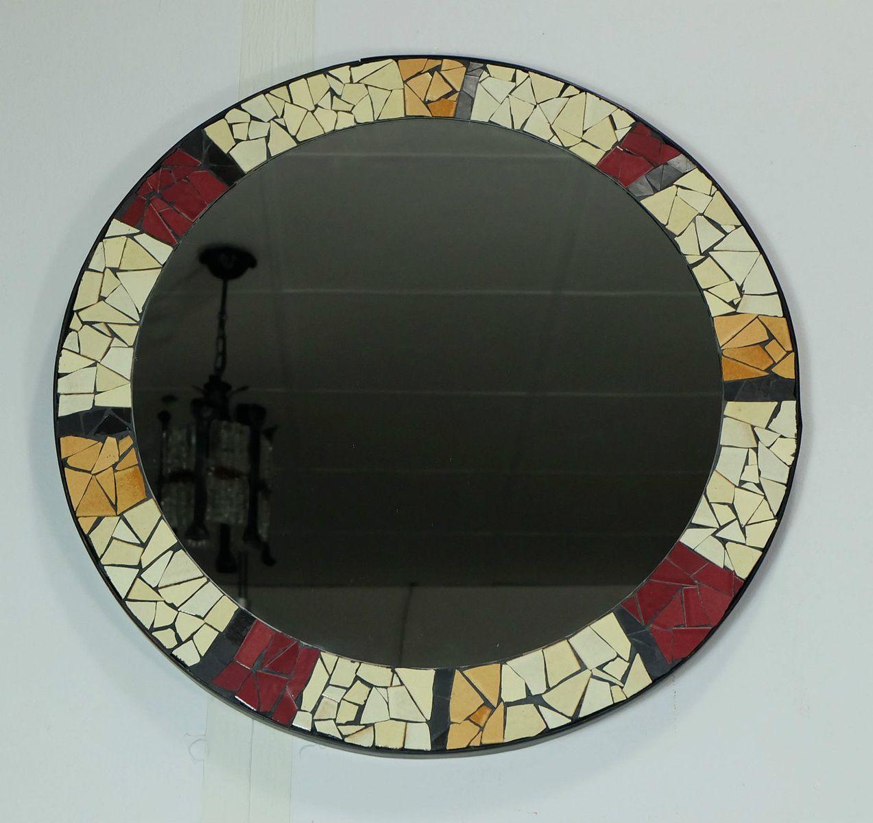 Runder Mid Century Mosaik Spiegel 1950er