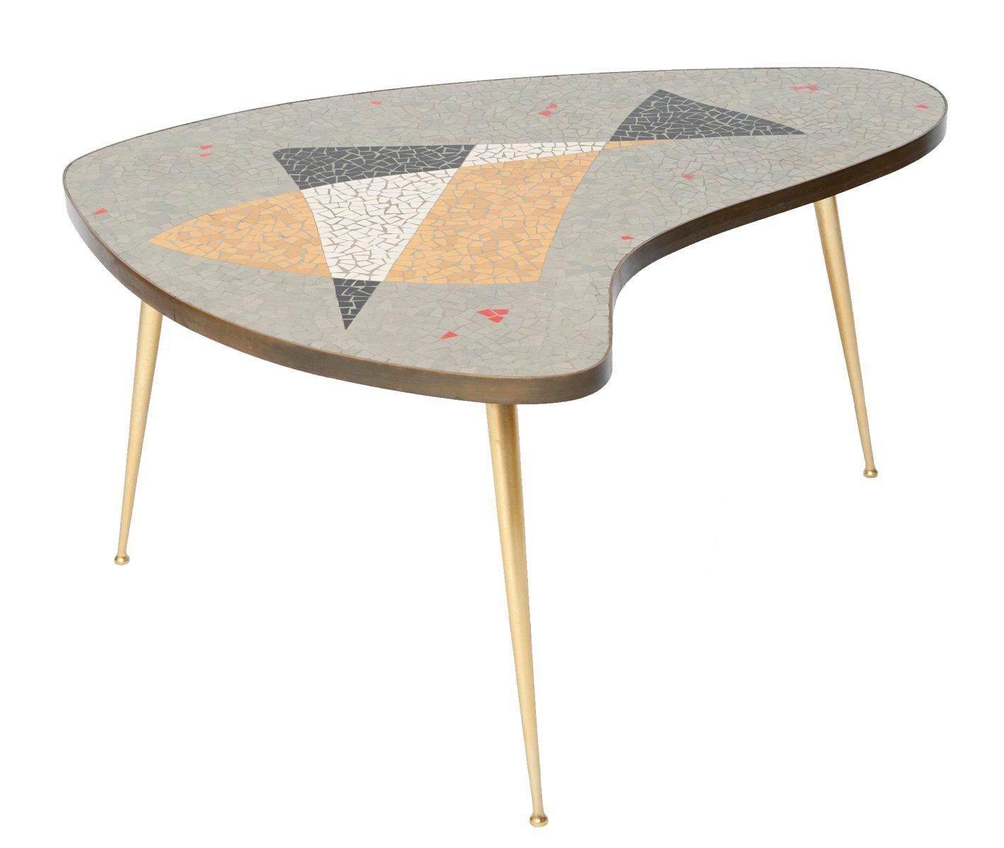 table basse en laiton avec mosa que 1955 en vente sur pamono. Black Bedroom Furniture Sets. Home Design Ideas