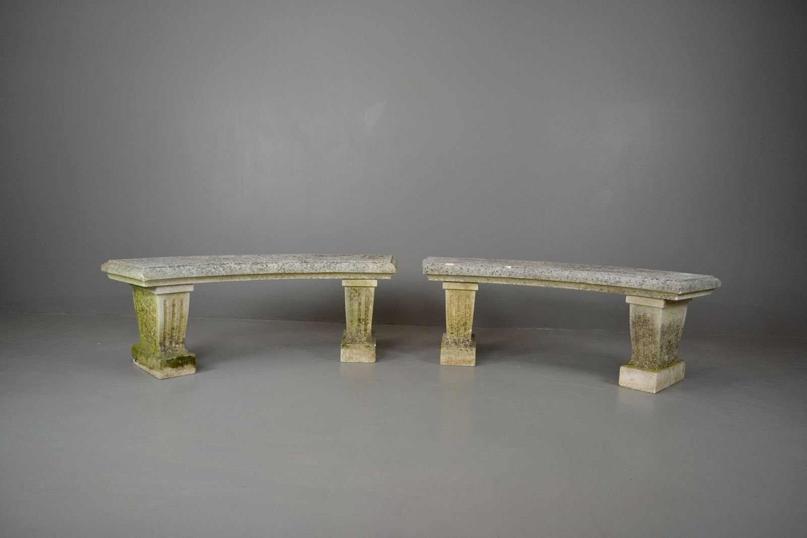 Vintage Cast Stone Garden Benches, Set Of 2