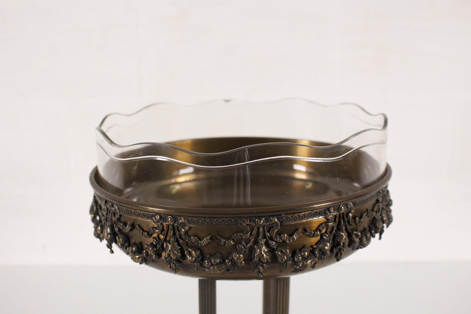 vase vintage art d co en m tal et en verre en vente sur pamono. Black Bedroom Furniture Sets. Home Design Ideas