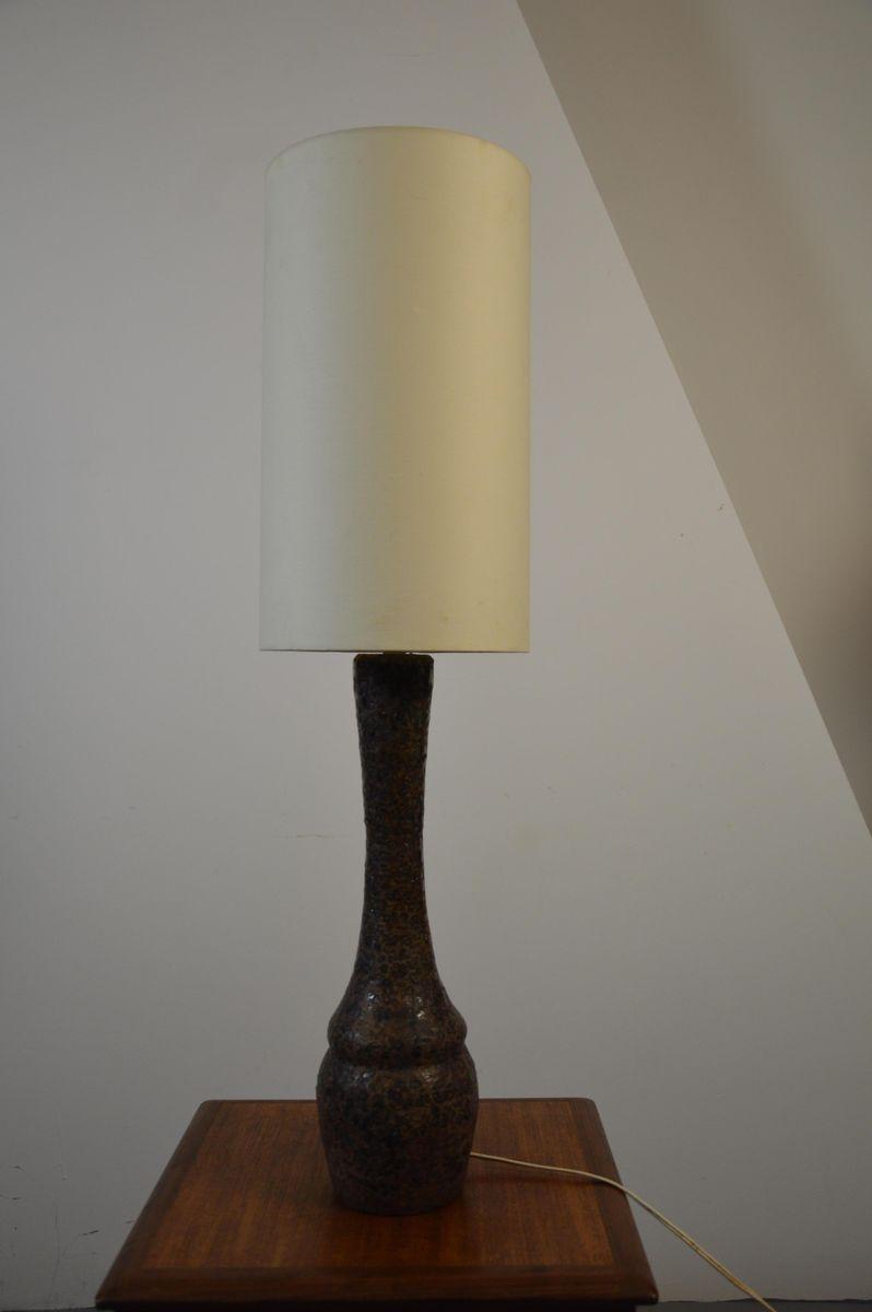 Hohe Braune Keramik Tischlampe, 1960er