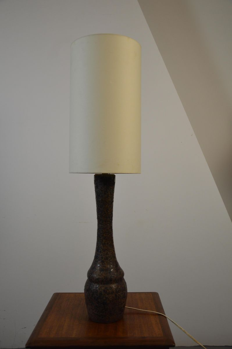 Tall Brown Ceramic Table Lamp 1960s For Sale At Pamono
