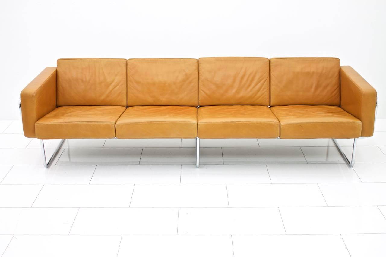 Swiss Four Seater Leather Sofa By Hans Eichenberger For Strässle 1970s