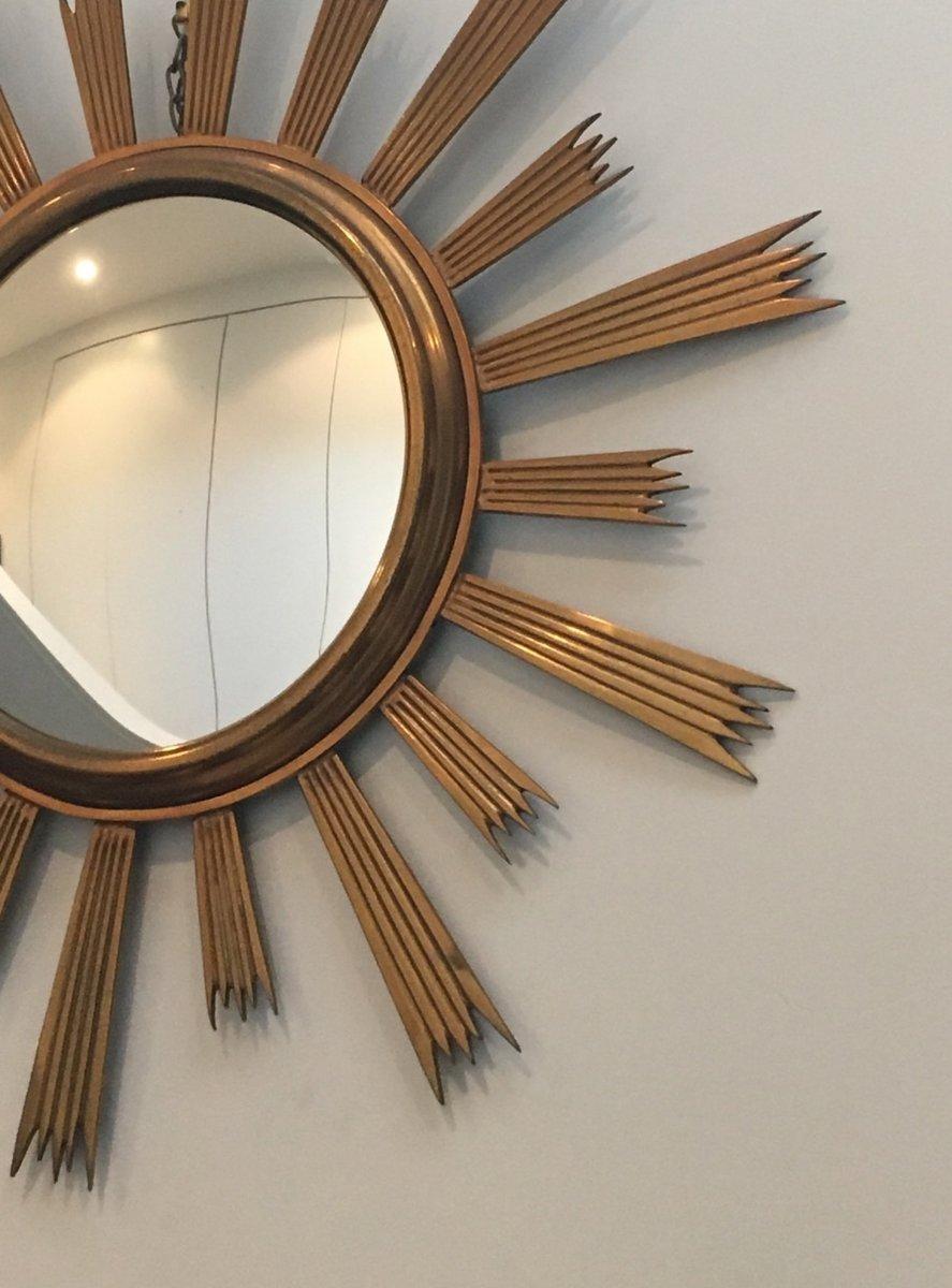 Vintage spiegel mit messingrahmen in sonnenoptik 1970er for Spiegel mit messingrahmen