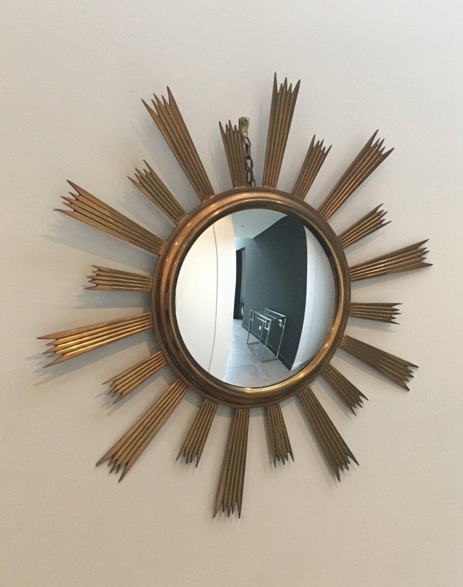 Specchio sunburst vintage in ottone anni 39 70 in vendita for Specchio unghia anni 70