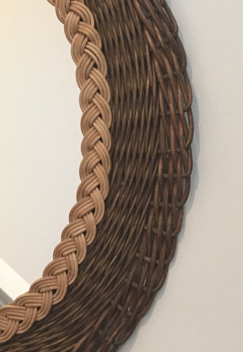 Vintage Braided Rattan Mirror For Sale At Pamono