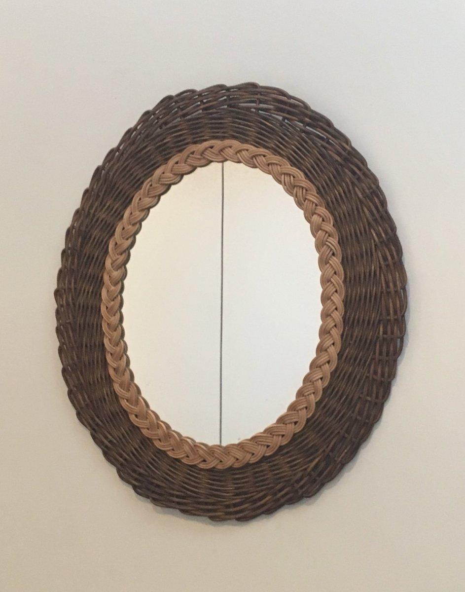 vintage spiegel mit rahmen aus geflochtenem rattan bei pamono kaufen. Black Bedroom Furniture Sets. Home Design Ideas