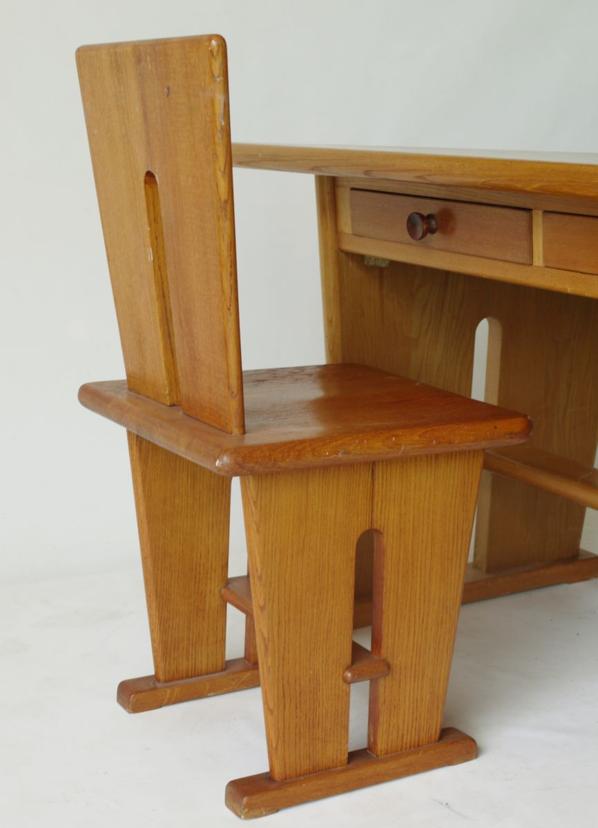 Double Sided Oak Desk And Two Chairs By Bas Van Pelt For Ems/ My Home, 1930s