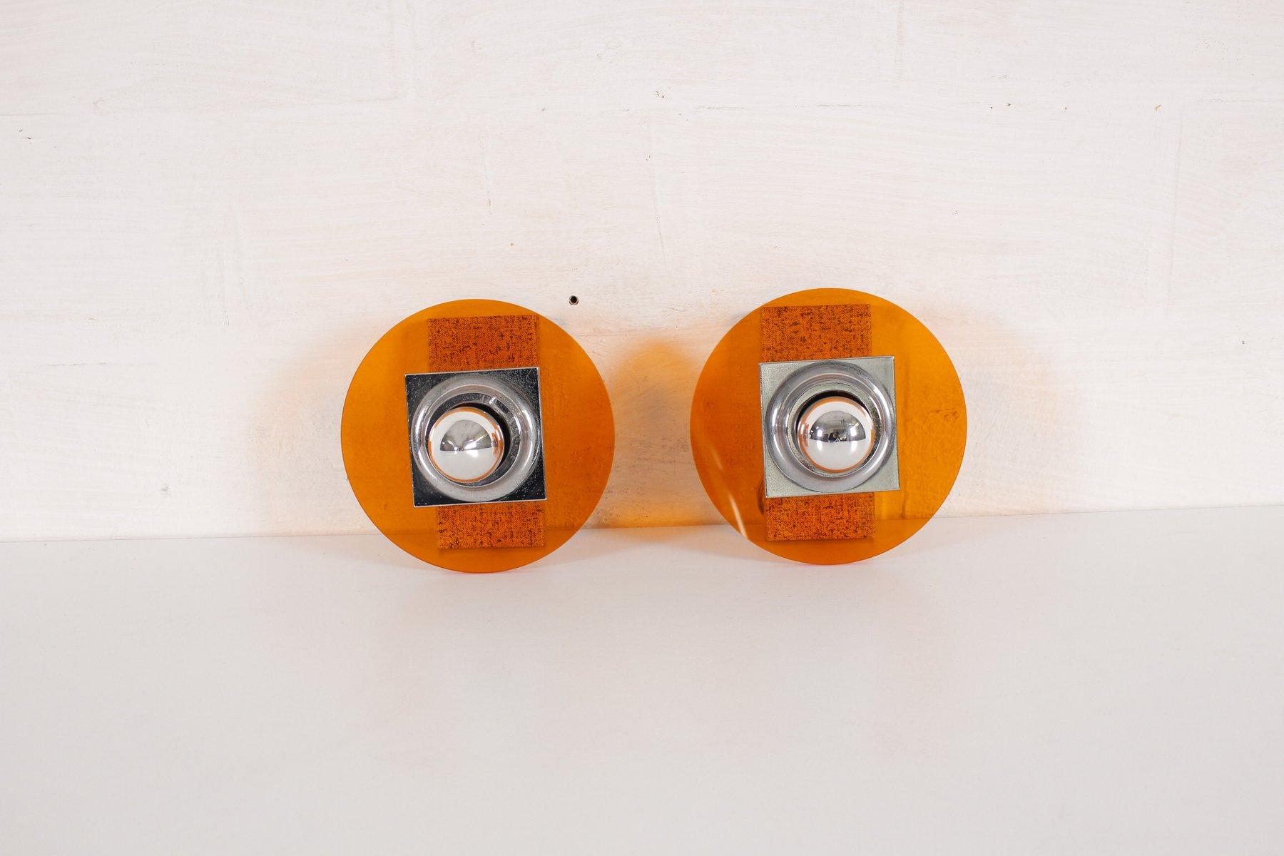 Orangenfarbene Vintage Wandlampen, 2er Set