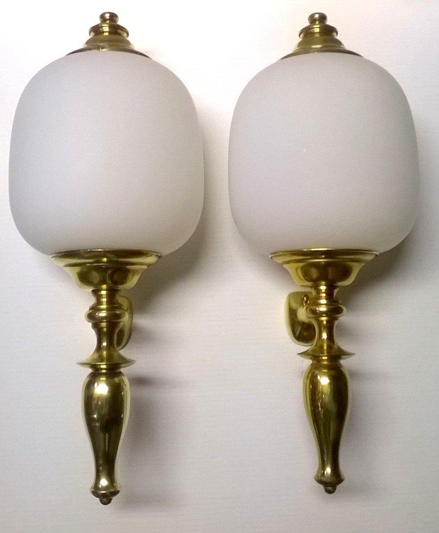 Große Italienische Wandlampen von Azucena, 1950er, 2er Set