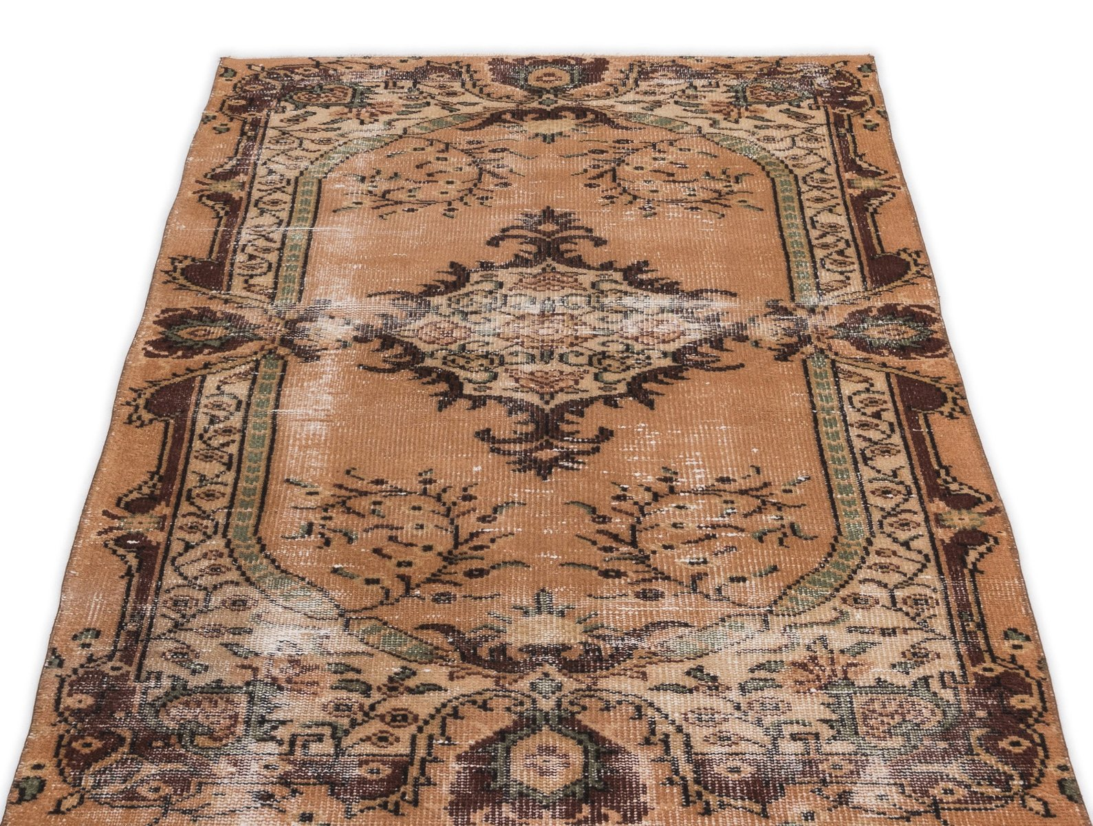 braun eingef rbter t rkischer vintage teppich bei pamono kaufen. Black Bedroom Furniture Sets. Home Design Ideas