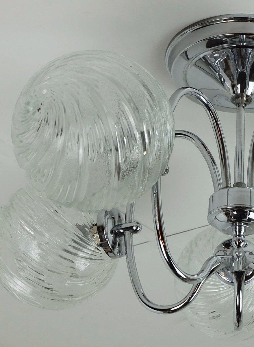 sputnik kronleuchter aus verchromten metall glas mit f nf leuchten von honsel leuchten bei. Black Bedroom Furniture Sets. Home Design Ideas