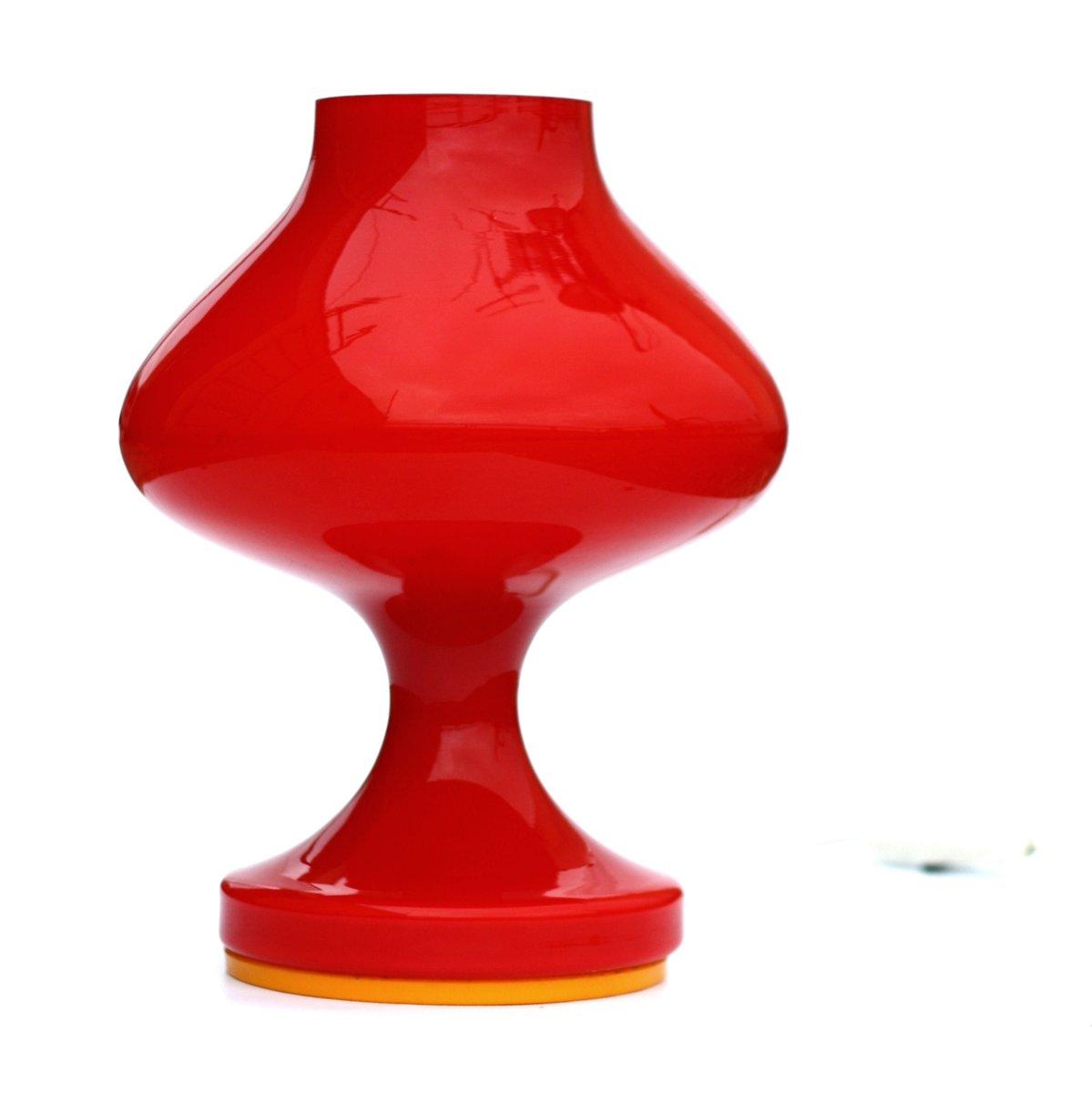 Rote Glas Tischlampe von Štefan Tabery für OPP Jihlava, 1970er