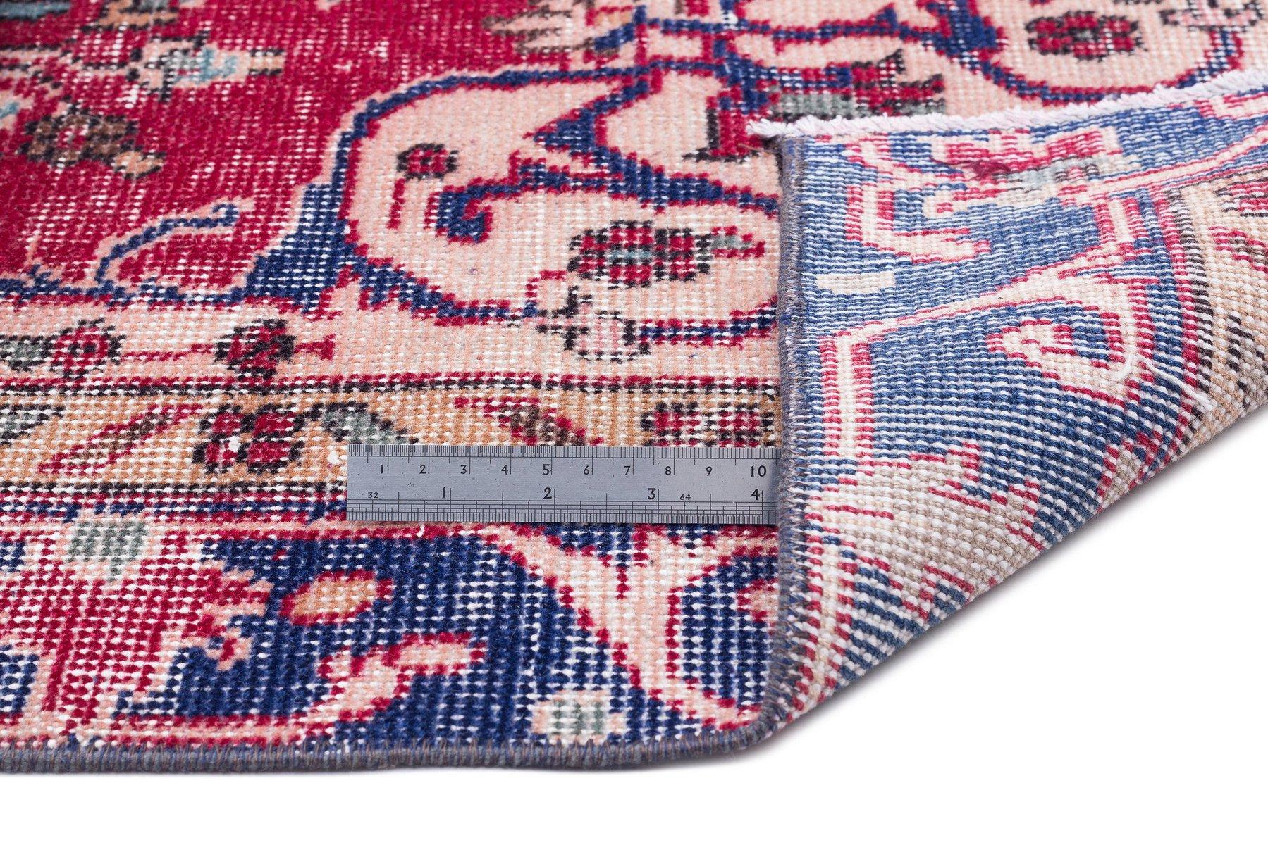 tapis reteint rouge beige et bleu turquie 1960s en vente sur pamono. Black Bedroom Furniture Sets. Home Design Ideas