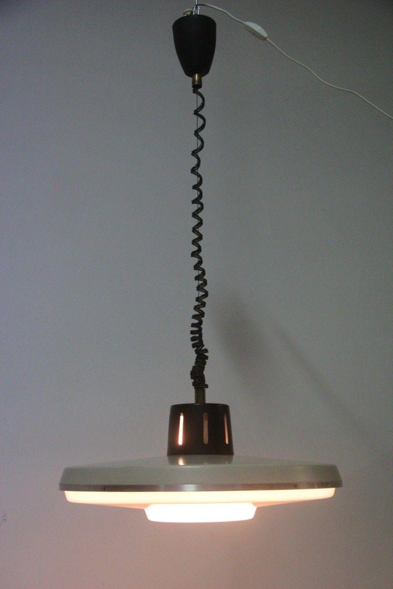 Deckenlampe aus Aluminium, Messing & Perspex von Stilnovo, 1960