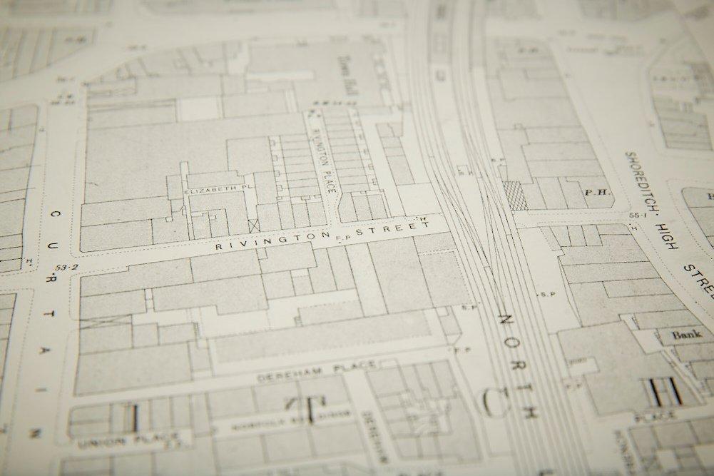 Vintage London Shoreditch Ordnance Survey Map For Sale At Pamono