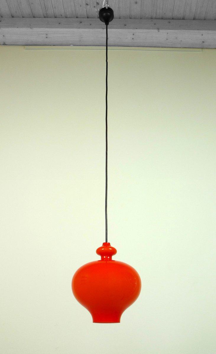 Deutsche Orangenfarbene Mundgeblasene Glas Hängelampe von Holmegaard f...