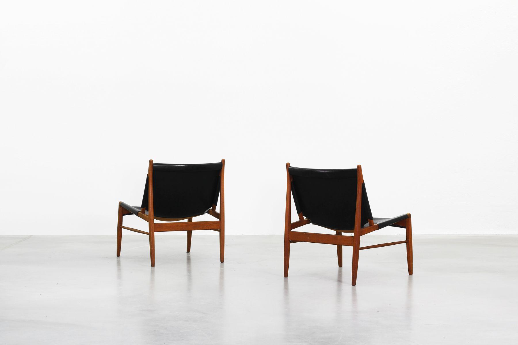 st hle mit ledersitzen von franz xaver lutz f r wk m bel 1958 2er set bei pamono kaufen. Black Bedroom Furniture Sets. Home Design Ideas