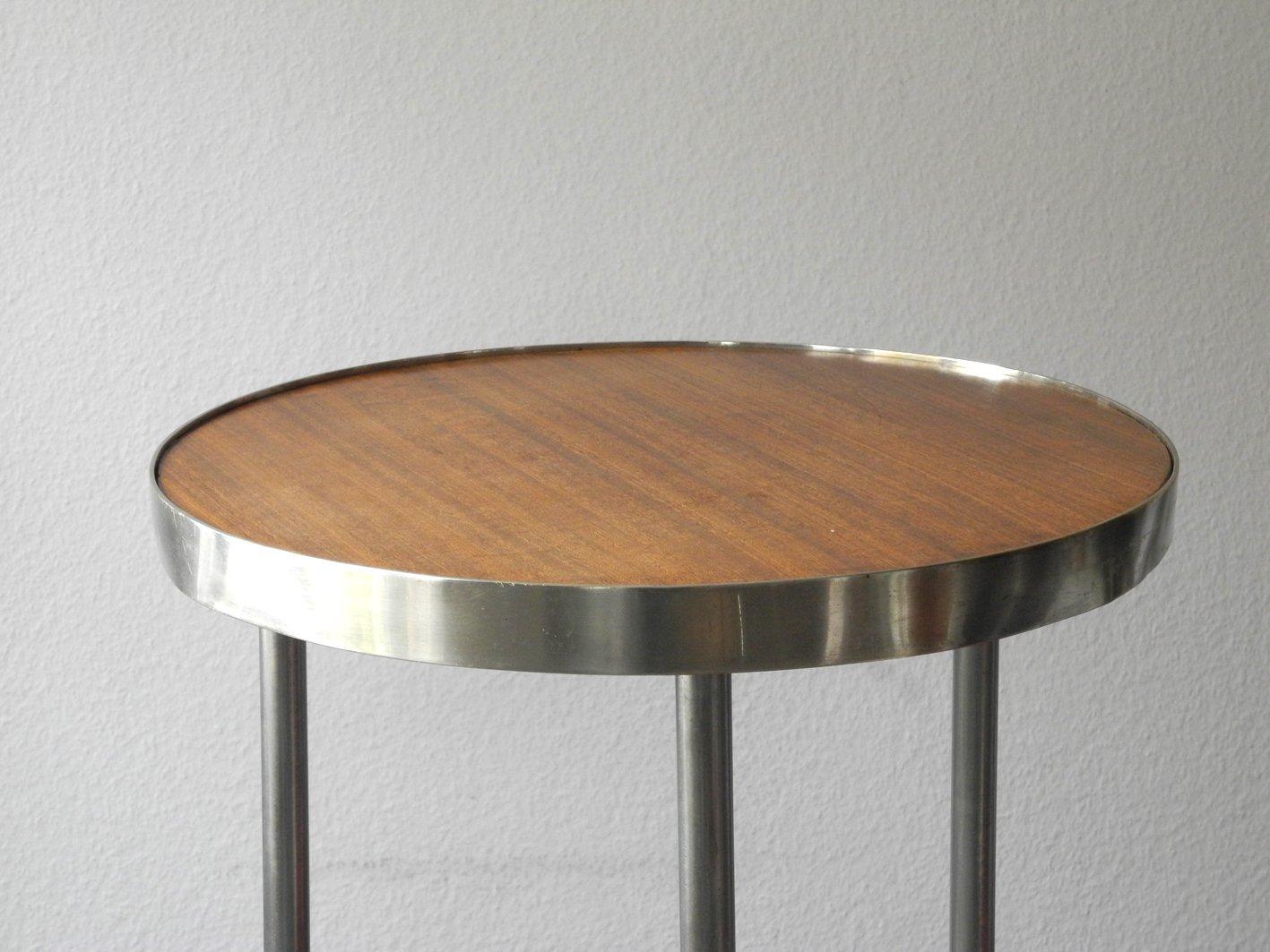 Mid Century Round Tubular Steel And Walnut Side Table 1950s
