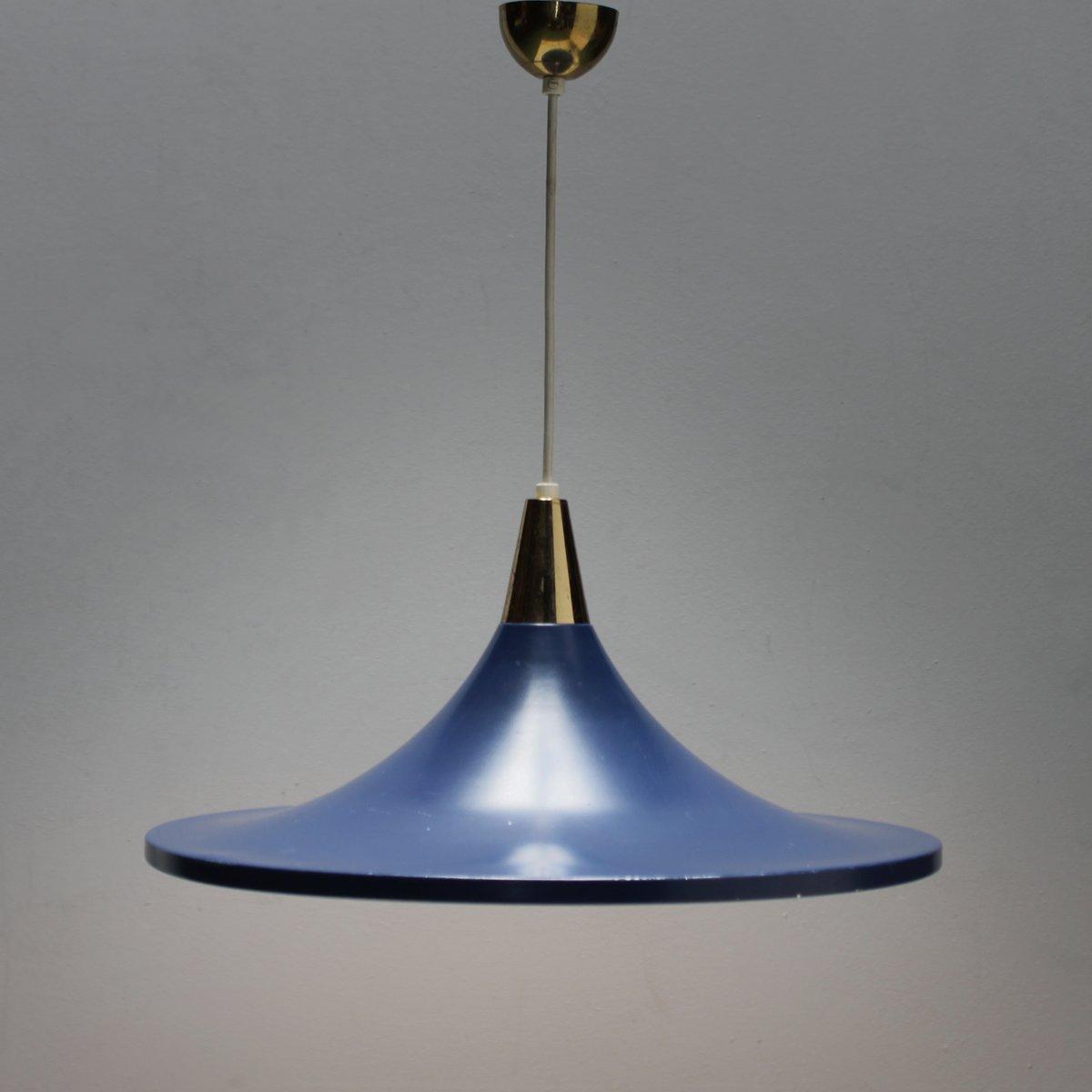 Blaue Hängelampe von Stilnovo, 1950er