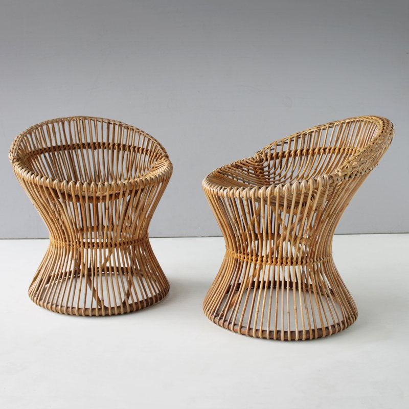 Charmant Italian Vintage Rattan Chairs, 1950s, Set Of 2