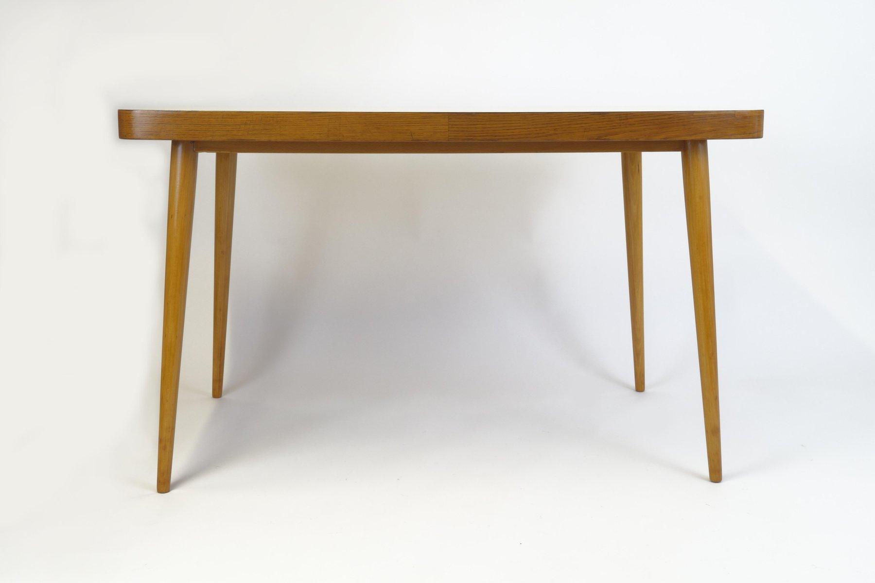 table de salle manger jaune avec dessus en bois 1950s en vente sur pamono. Black Bedroom Furniture Sets. Home Design Ideas