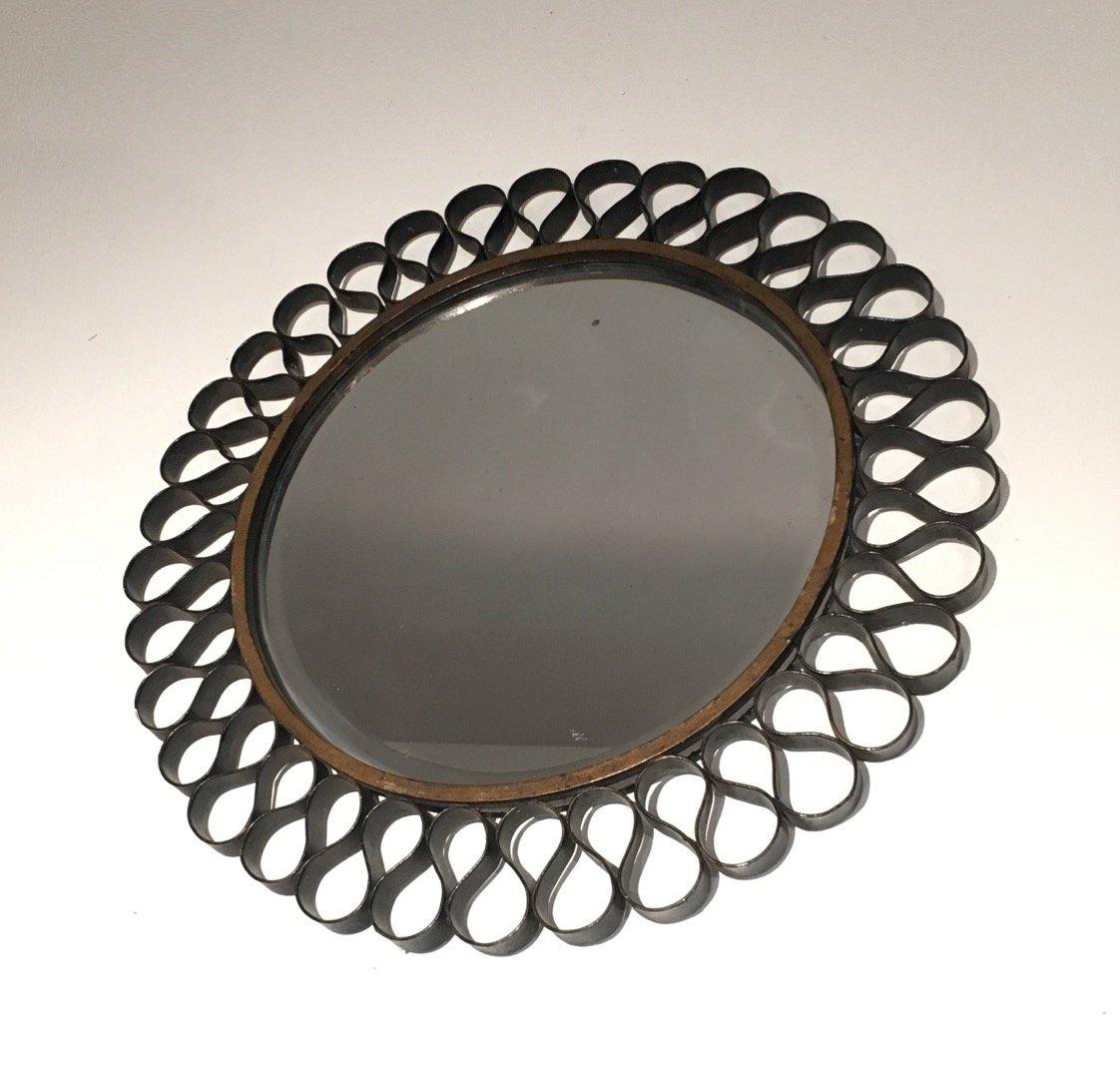 Mid century spiegel mit schwarz gold lackiertem metallrahmen bei pamono kaufen - Spiegel mit metallrahmen ...