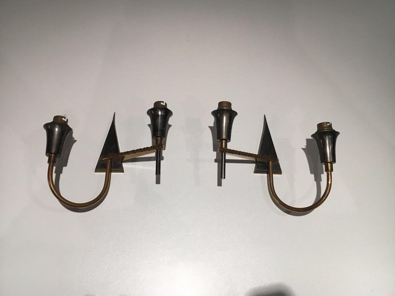 Mid-Century Wandleuchten aus Gebürstetem Metall & Messing, 2er Set