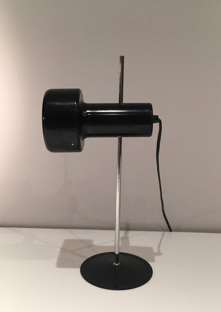 Schwarz Lackierte Mid-Century Metall & Chrom Tischlampe
