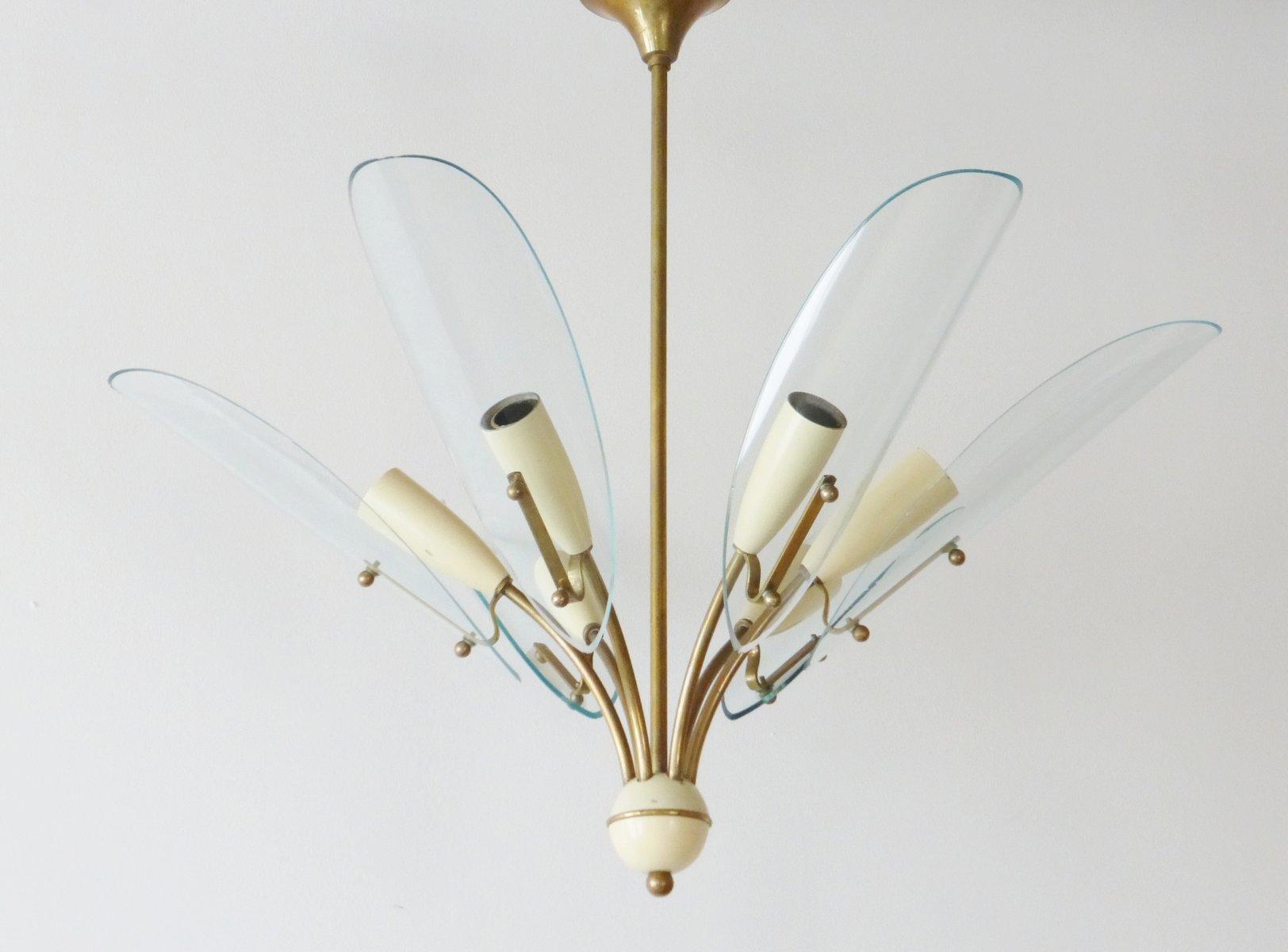 Vintage Messing & Glas Deckenlampe, 1950er