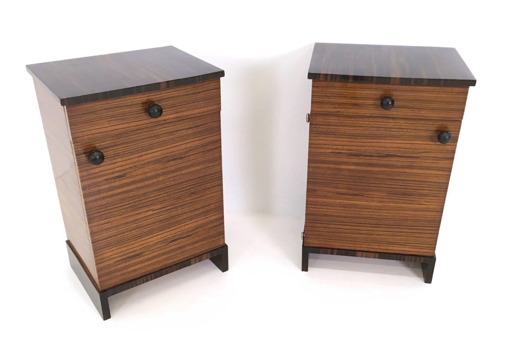 Mesas de noche de madera de zebrano y bano macassar a os 40 juego de 2 en venta en pamono - Mesas de noche de madera ...