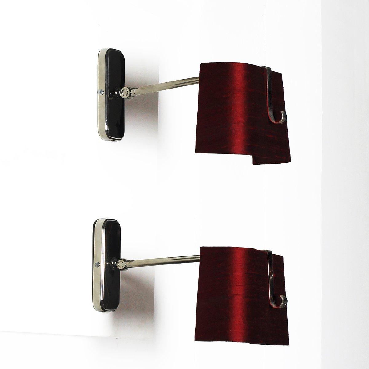 Rote Seide & Messing Wandlampen von Hillebrand, 1960er, 2er Set