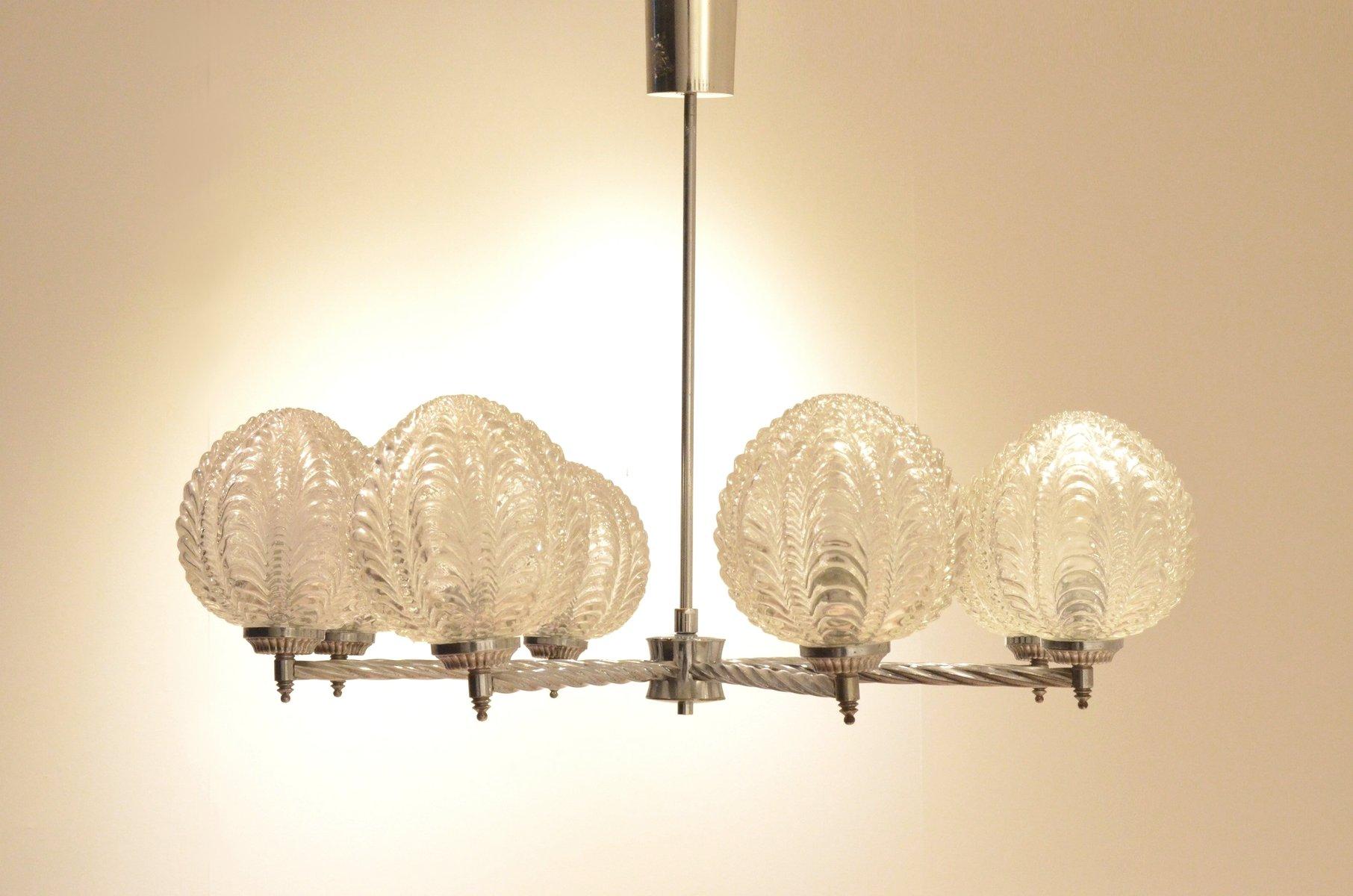 lustre art d co en m tal nickel et en verre avec motif. Black Bedroom Furniture Sets. Home Design Ideas