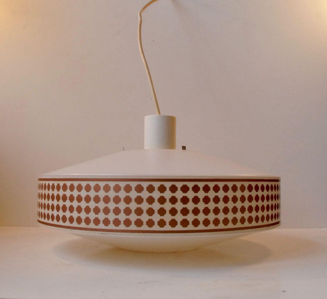 Hängelampe mit Geometrischem Kupfer Muster von Heifetz Rotaflex, 1960e...