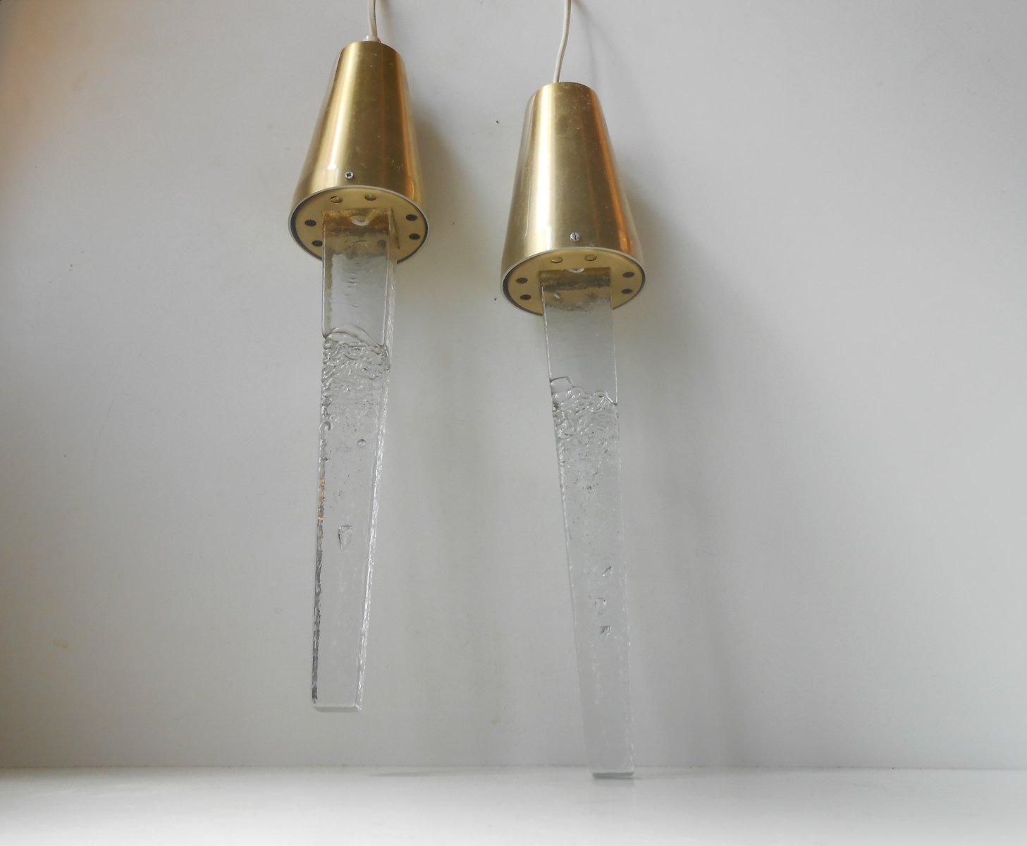 Schwedische Glas & Messing Eiszapfen Hängelampen von Atelje Engberg, 2...