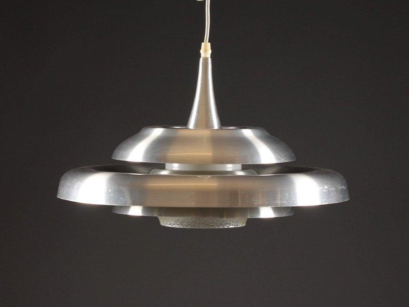 Dänische UFO Hängelampe aus Aluminum und Glas, 1960er