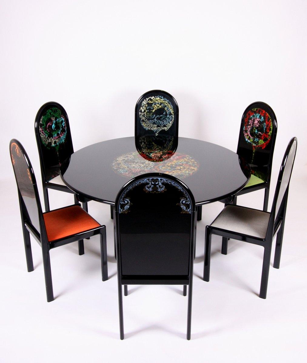 Deutscher Limitierter Siebdruck Tisch mit Sechs Stühlen von Bjorn Wiin...