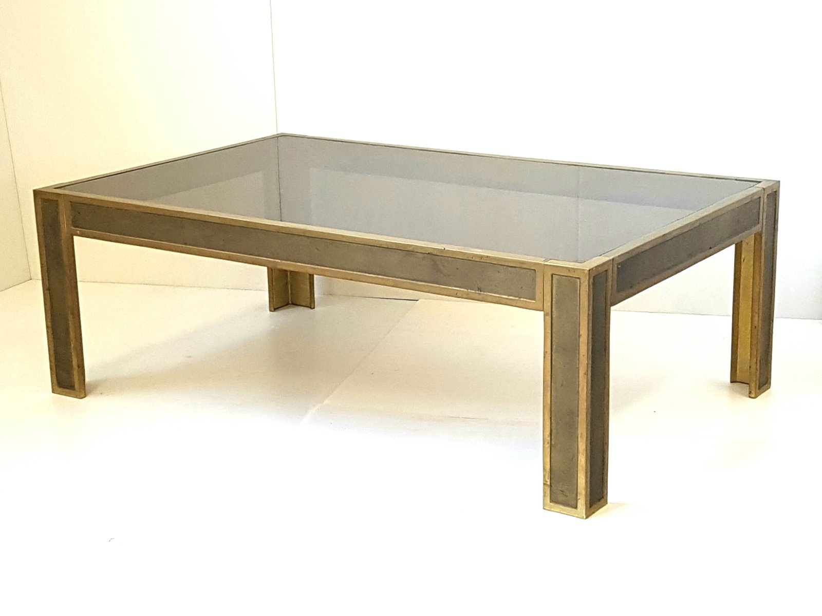 Mid Century Bronze And Smoked Glass Table, 1970s