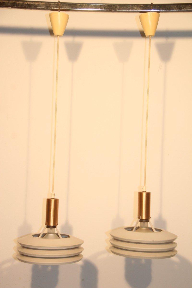 Minimalistische Dänische Deckenlampen von En Voss Belysning, 1950er, 2...