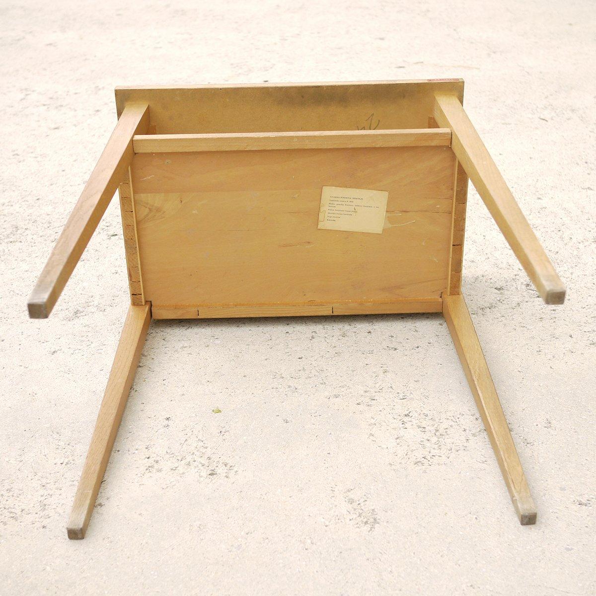 vintage beistelltisch aus holz mit gr ner tischplatte bei pamono kaufen. Black Bedroom Furniture Sets. Home Design Ideas