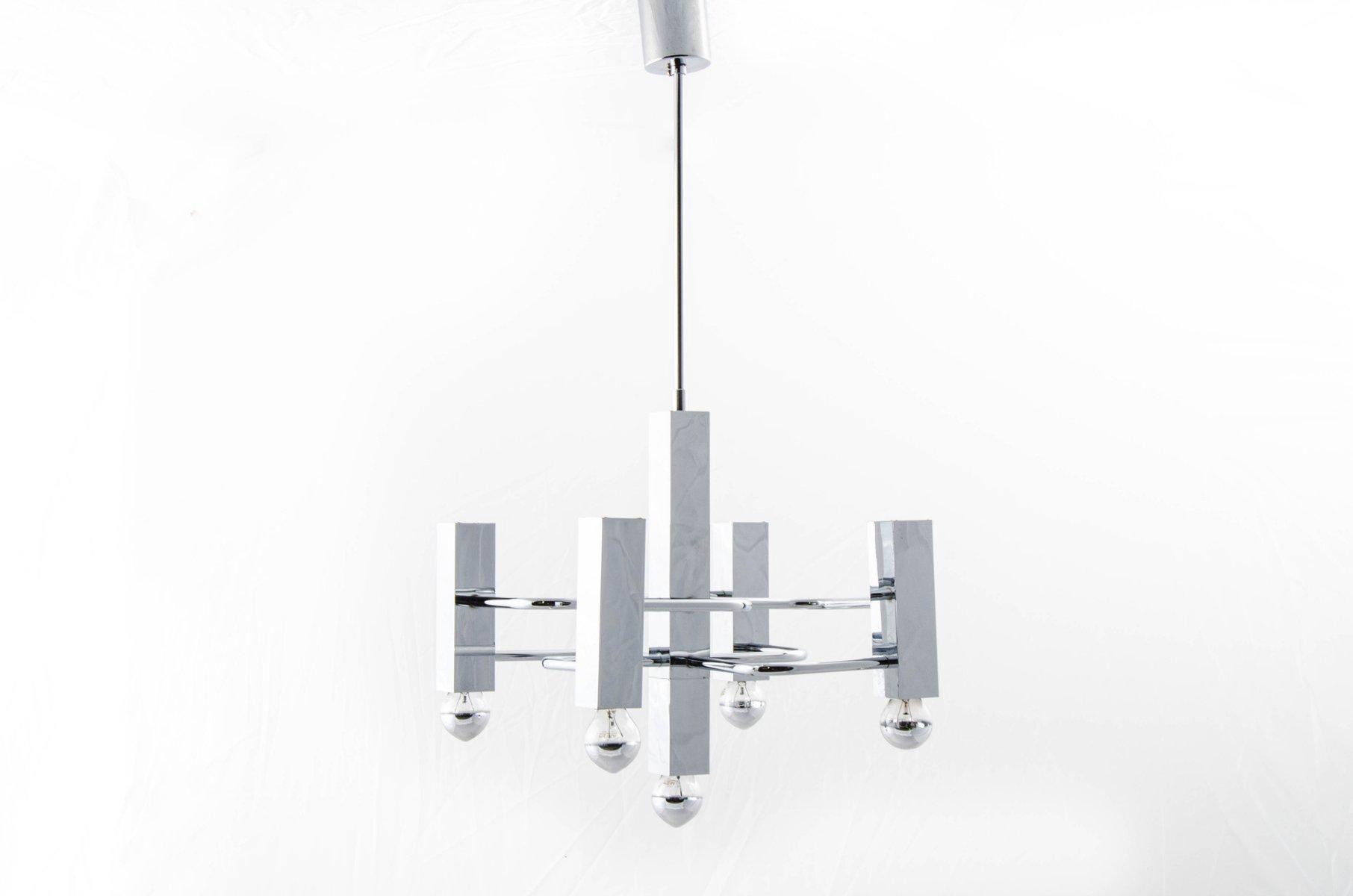 Geometrischer Kronleuchter aus Verchromten Stahl von Gaetano Sciolari ...