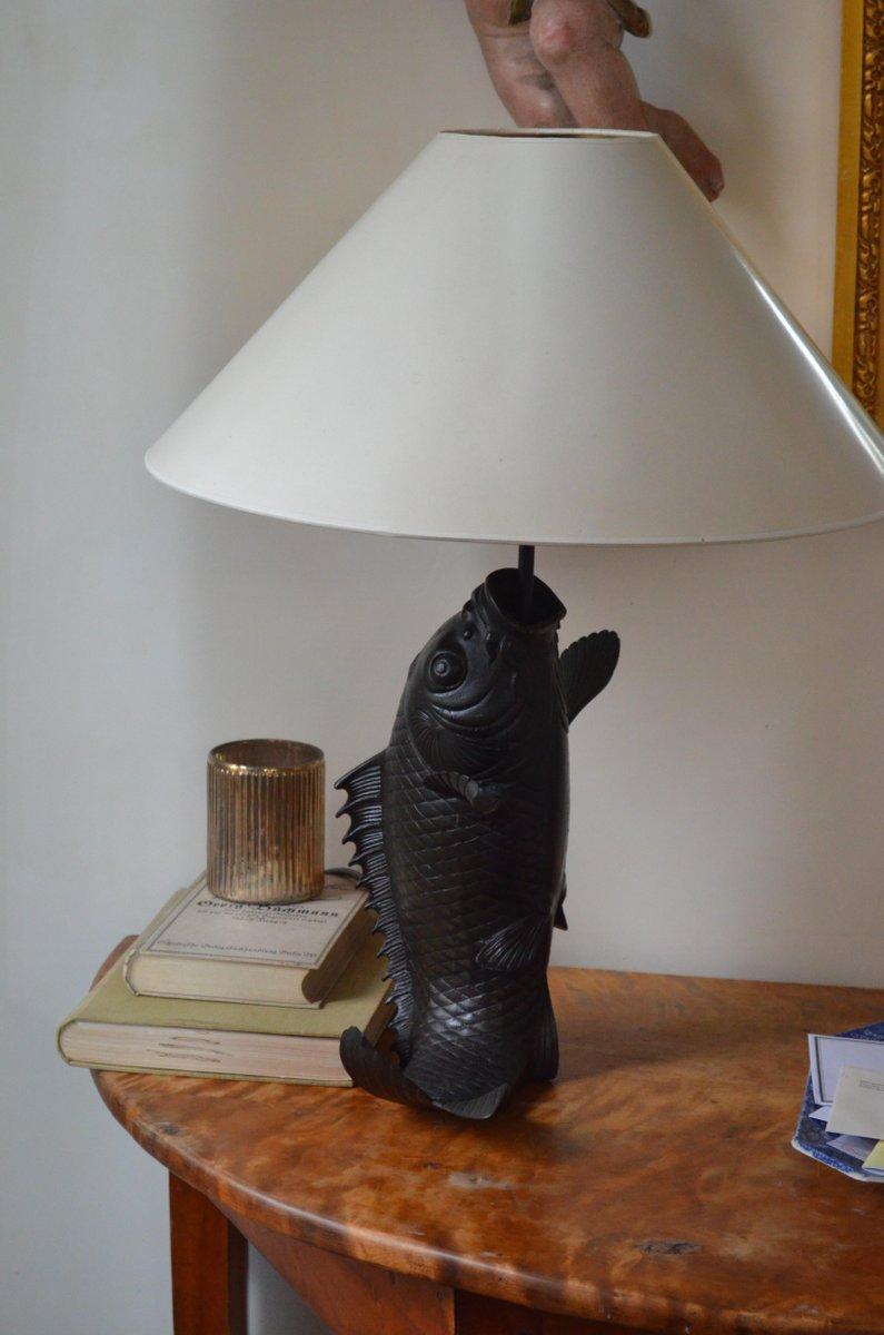 Vintage Bronze Fisch Tischlampen, 2er Set