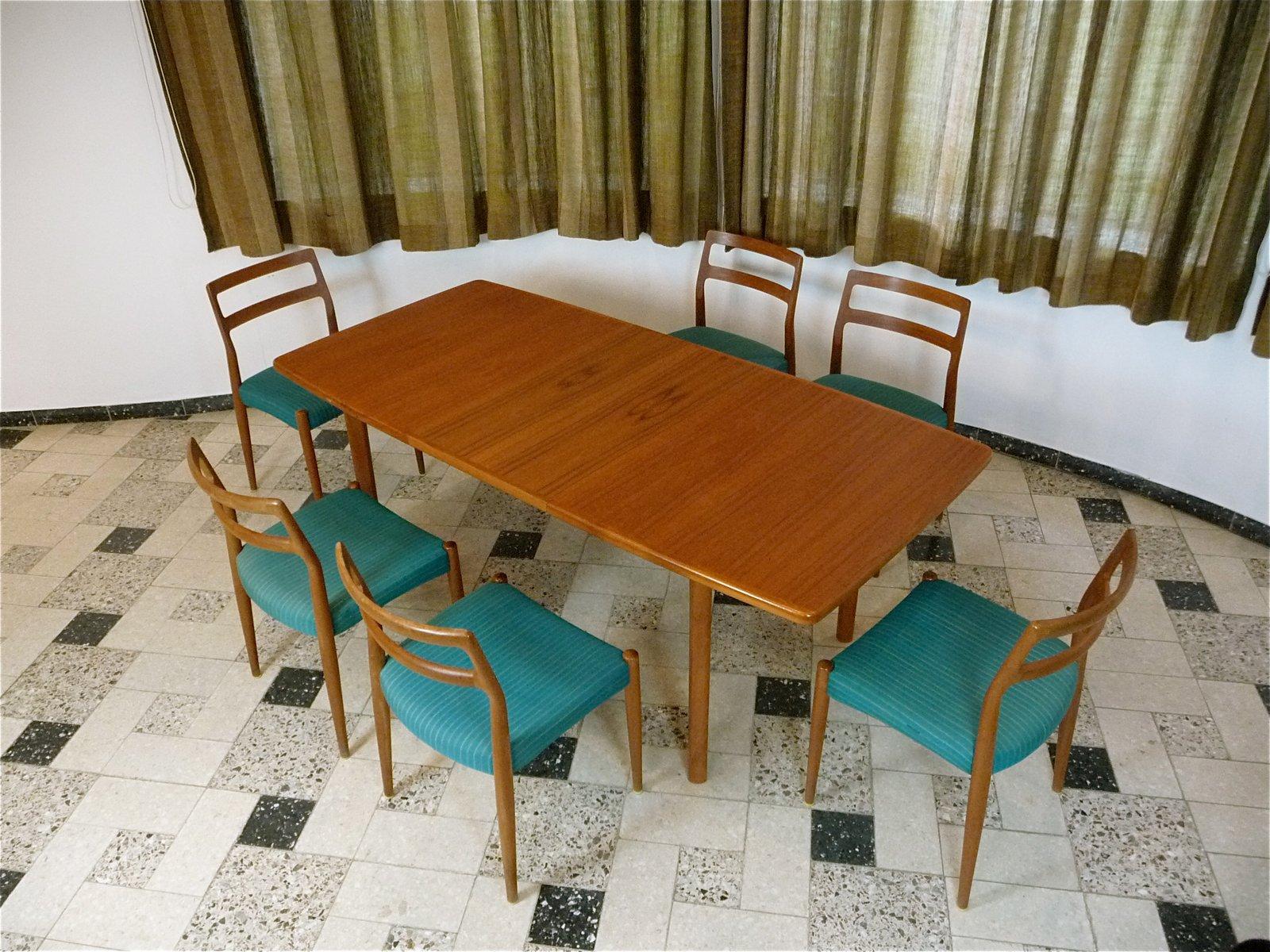 table de salle manger rallonge en teck danemark 1970s en vente sur pamono. Black Bedroom Furniture Sets. Home Design Ideas